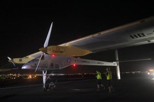 Solar Impulse is seen at JFK airport in New York