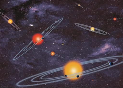 This handout artist conception provided by NASA depicts multiple-transiting planet systems, which are stars with more than one planet. The planets eclipse or transit their host star from the vantage point of the observer. This angle is called edge-on. Our galaxy is looking far more crowded as NASA Wednesday confirmed a bonanza of 715 newly discovered planets circling stars other than our sun. Four of those new planets are in the habitable zones where it is not too hot or not cold. NASA's Kepler planet-hunting telescope nearly doubled the number of planets scientists have discovered in the galaxy, pushing the figure to about 1,700. Twenty years ago, astronomers had not found any planets outside our solar system. (AP Photo/NASA)