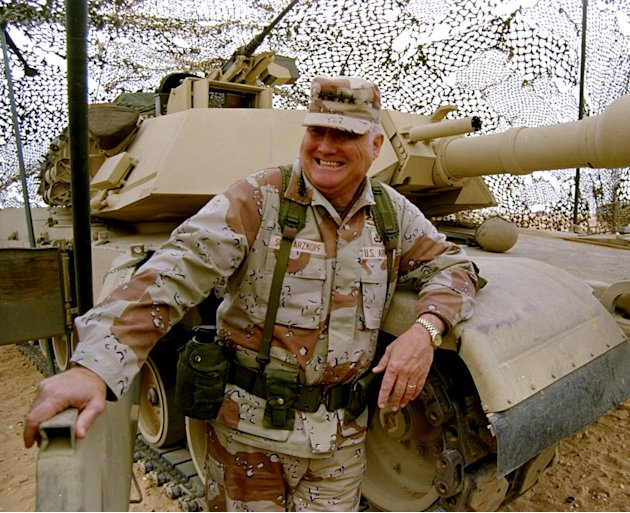 FILE - In this Jan. 12, 1991 file photo, Gen. H. Norman Schwarzkopf stands at ease with his tank troops during Operation Desert Storm in Saudi Arabia. Schwarzkopf died Thursday, Dec. 27, 2012 in Tampa