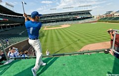 Dustin Johnson takes golf batting practice at Wrigley Field