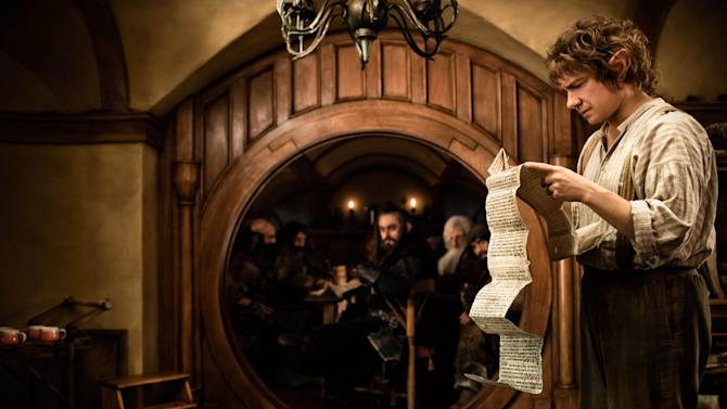 """This film image released by Warner Bros. shows Martin Freeman as Bilbo Baggins in a scene from the fantasy adventure """"The Hobbit: An Unexpected Journey.""""   (AP Photo/Warner Bros., James Fisher)"""