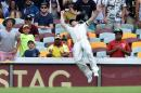 Australia's David Warner dives in an attempt to match a catch on the boundary line on the fourth day of the 2nd cricket Test match against India at Gabba in Brisbane on December 20, 2014