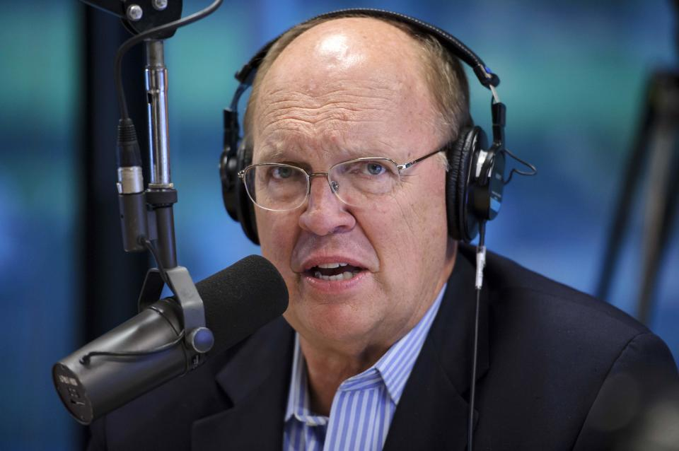 News-Talk WSB AM750 radio host Neal Boortz announces his retirement during his morning show at WSB studios in Atlanta on Monday, June 4, 2012. (AP Photo/Paul Abell)