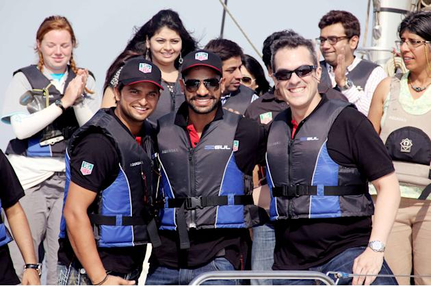 Suresh Raina and Shikhar Dhawan at a boating event near the Gateway of India