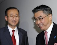This file photo shows Lim Sung-Nam (L), South Korean negotiator for six-nation talks, along with his Japanese counterpart Shinsuke Sugiyama, prior talks in Tokyo, in 2011. S.Korea, the US and Japan will hold high-level talks in Seoul next week about developments in N.Korea following its failed long-range rocket launch, according to a report