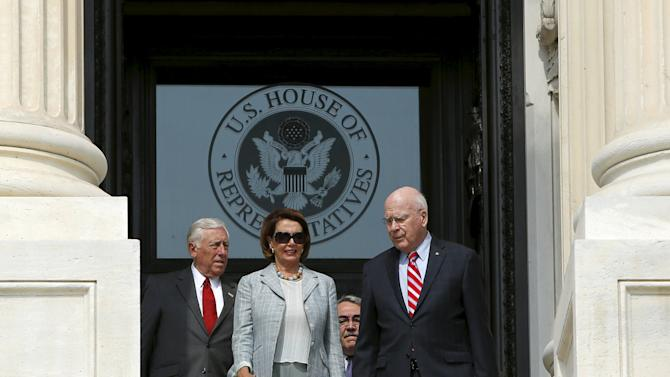 Congressman Hoyer, House Minority Leader Pelosi and Senator Leahy walk down the East steps of the Capitol to an event celebrating the 50th anniversary of the Voting Rights Act in Washington