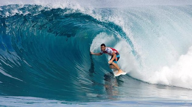 Joel Parkinson of Australia rides a tube during the Billabong Pipeline Masters