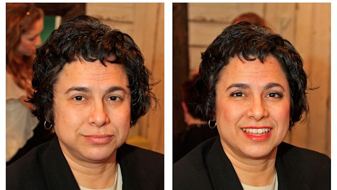 """IMAGE DISTRIBUTED FOR PUFFS - Maria Delli Santi is shown before on the left and after on the right, after a make over the Puffs/Dress for Success 'Kisses"""" event on Tuesday, February 12, 2013 at High Five Salon in Cincinnati, Ohio, home of Proctor & Gamble. (Skip Peterson/AP Images for Puffs)"""