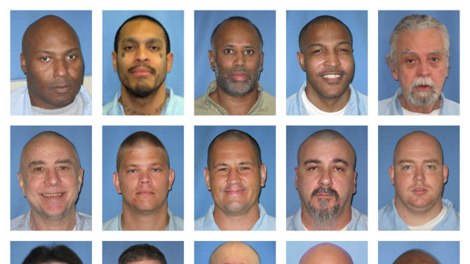 This combination of undated photos provided by the Illinois Department of Corrections shows the last 15 inmates on the state's death row. Illinois abolished the death penalty Wednesday, March 9, 2011 and Gov. Pat Quinn commuted the sentences of all 15 inmates, who will now serve life in prison with no hope of parole. The inmates are, top from left: Rodney Adkins, Teodoro Baez, Dion Banks, Joseph Bannister, David Damm; middle from left: Brian Dugan, Eric Hanson, Anthony Mertz, Gary Pate, Daniel Ramsey; bottom from left: Paul Runge, Cecil Sutherland, Edward Tenney, Andrew Urdiales, Ricardo Harris. (AP Photo/Illinois Department of Corrections)