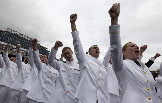 Graduates celebrate at the U.S. Naval Academy during commencement in Annapolis