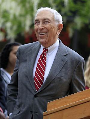 """FILE - In this May 3, 2012 file photo, U.S. Sen. Frank Lautenberg, D-N.J. smiles as he stands on the Rutgers-Camden campus in Camden, N.J. Lautenberg, at age 88 the oldest sitting U.S. senator, said Tuesday, Jan. 22, 2013 that the mayor of the state's largest city is entitled to run next year for the seat he now holds _ but he did not yet reveal his own plans. Newark Mayor Cory Booker likely won't be the only candidate """"drooling at the mouth"""" over the job, Lautenberg noted while talking with reporters in Washington. (AP Photo/Mel Evans, File)"""