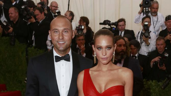 """Retired New York Yankees baseball great Jeter and his girlfriend Davis arrive for the Metropolitan Museum of Art Costume Institute Gala 2015 celebrating the opening of """"China: Through the Looking Glass,"""" in Manhattan"""