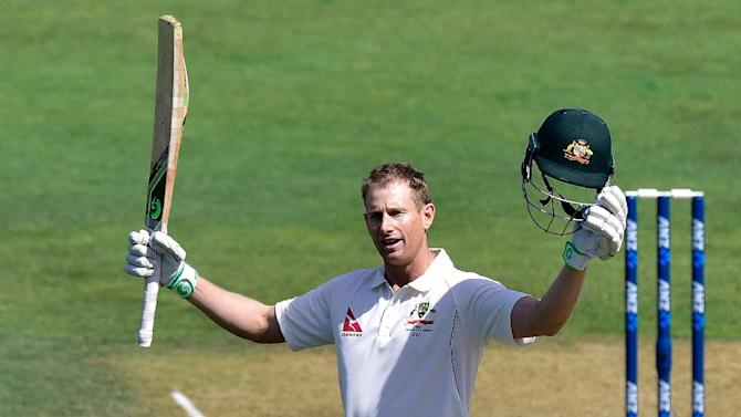 Adam Voges of Australia celebrates 100 runs during day two of their first Test match against New Zealand, at the Basin Reserve in Wellington, on February 13, 2016