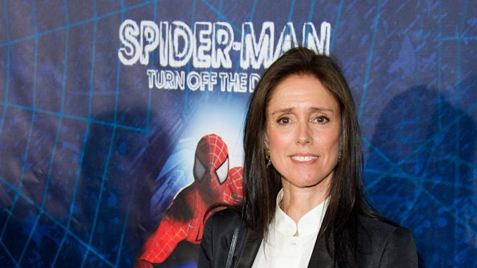 """FILE - In this June 14, 2011 file photo, director Julie Taymor arrives at the opening night performance of the Broadway musical """"Spider-Man Turn Off the Dark"""" in New York. Producers of """"Spider-Man: Turn Off the Dark"""" have fired back in their legal battle with one-time director Julie Taymor, claiming in a countersuit that she failed to fulfill her legal obligations and refused to collaborate on changes to the $75 million show. (AP Photo/Charles Sykes)"""