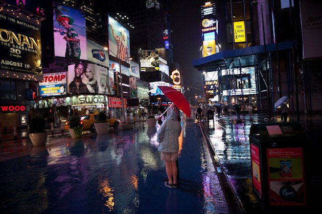 The looming threat of Hurricane Irene did not dissuade tourists from visiting Manhattan's Times Square, Saturday, Aug. 27, 2011, in New York. Mayor Bloomberg advised all New Yorkers to prepare as the