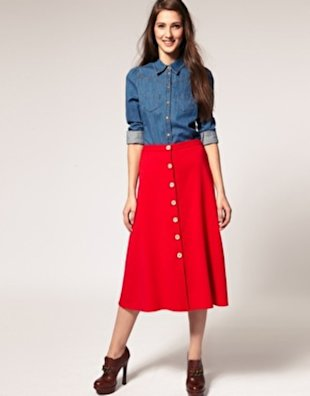 Midi Skirt with Gold Button Front, $28.65