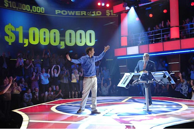 During the premiere episode for Power of 10 hosted by Drew Carey (right), Jamie Sadler (left), a pre-med student from Upper Montclair, New Jersey won $1 Million Dollars after accurately predicting how