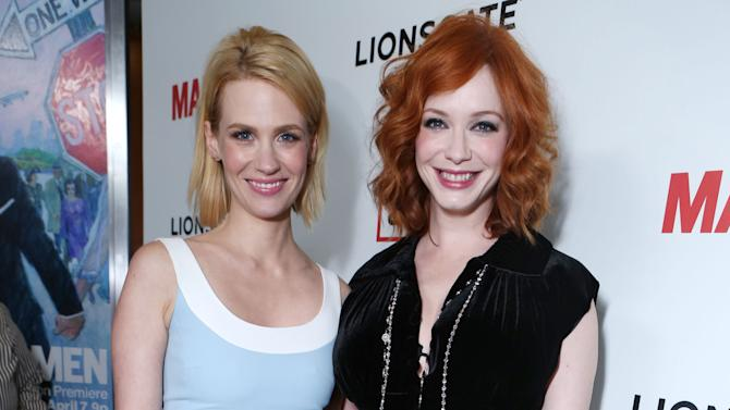 January Jones and Christina Hendricks at the AMC Season 6 Premiere of Mad Men , on Wednesday, March, 20, 2013 in Los Angeles. (Photo by Alexandra Wyman/Invision for AMC/AP Images)