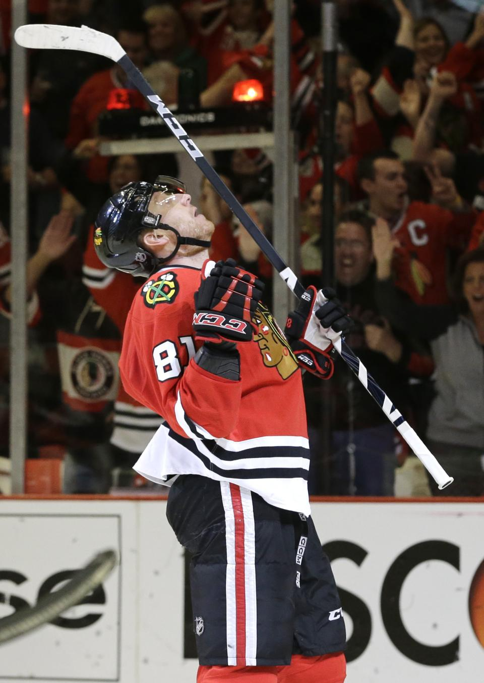 Chicago Blackhawks' Marian Hossa (81) celebrates after scoring his second goal against the Minnesota Wild during the second period of Game 5 of an NHL hockey Stanley Cup first-round playoff series in Chicago, Thursday, May 9, 2013. (AP Photo/Nam Y. Huh)