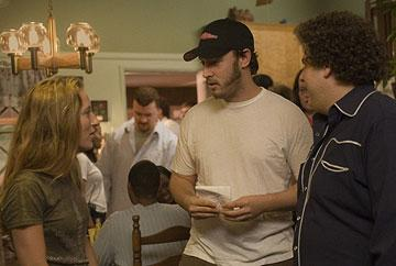 Producer Shauna Robertson , Evan Goldberg and Jonah Hill on the set of Columbia Pictures' Superbad