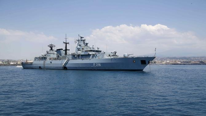 General view of the German navy vessel Schleswig Holstein moored off the Sicilian port city of Catania