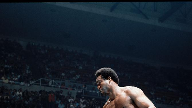 2. George Foreman TKO2 Joe Frazier, Jan. 22, 1973 – Frazier entered the bout as the champion, with a record of 29-0 with 25 knockouts. Foreman was 37-0 with 34 knockouts. It promised to be an action-packed fight, but it was all one-sided. Foreman knocked Frazier down six times, once lifting Frazier off his feet with a punch, en route to claiming the title. (Photo credit: Getty)