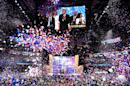 Photo taken on July 21, 2016 shows Ballons falling after Republican presidential candidate Donald Trump spoke and accepted the party nomination