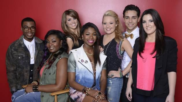 Burnell Taylor, Candice Glover, Angie Miller, Amber Holcomb, Janelle Arthur, Lazaro Arbos and Kree Harrison -- FOX