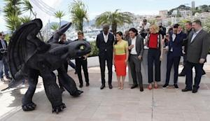 "Director Dean DeBlois, cast members Jay Baruchel, America Ferrera, Cate Blanchett, Kit Harington, Djimon Hounsou pose during the photocall for the film ""How to Train Your Dragon 2"" out of competition at the 67th Cannes Film Festival in Cannes"