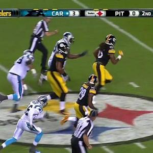 Carolina Panthers quarterback Derek Anderson fumbles snap and Steelers recover