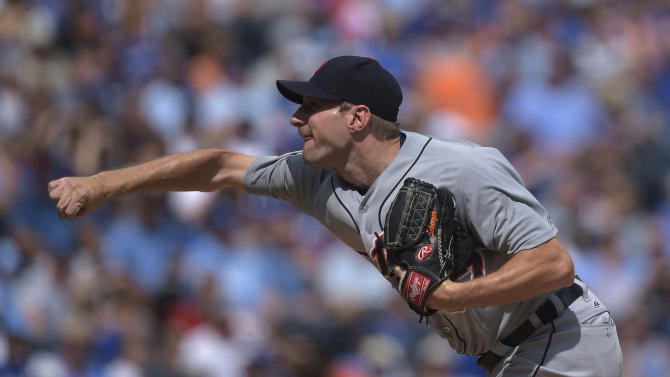 Detroit Tigers starting pitcher Max Scherzer throws against the Kansas City Royals during the first inning of a baseball game Saturday, Sept. 20, 2014, in Kansas City, Mo. (AP Photo/Reed Hoffmann)