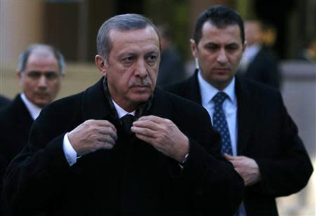 Turkey's Prime Minister Erdogan arrives for a ceremony in Ankara