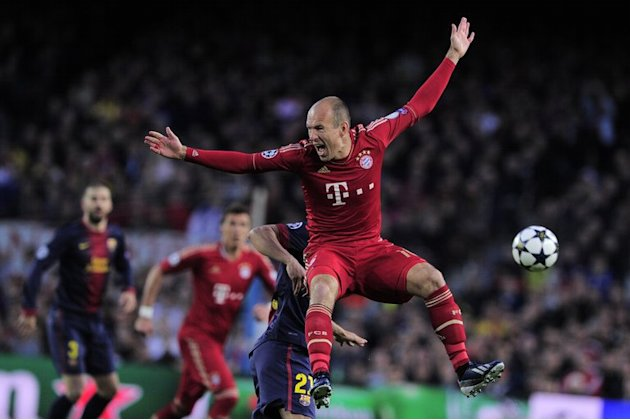 Bayern's Arjen Robben during the UEFA Champions League semi-final second leg against Barcelona in Barcelona, May 1, 2013