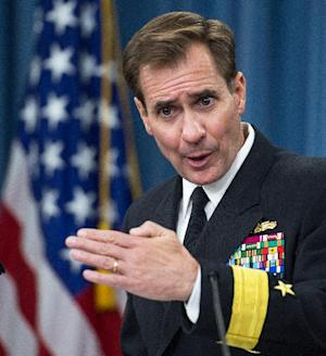 Pentagon Press Secretary Rear Adm. John Kirby conducts a media briefing on April 29, 2014 in Washington, DC
