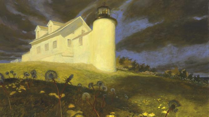 """This image provided by Christie's auction house shows Jaime Wyeth's painting titled """"Lighthouse Dandelions,"""" among thirteen paintings by the famous Wyeth family of artists that have sold for just over $2 million at auction Thursday, May 23, 2013 in New York.  (AP Photo/Christie's)"""