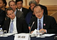 <p>World Bank Group President Jim Yong Kim (R), pictured along with US Treasury Secretary Timothy Geithner during a meeting on the Global Agriculture and Food Security Program (GAFSP), in Tokyo, on October 12, on the sidelines of the annual meetings of the International Monetary Fund and the World Bank.</p>