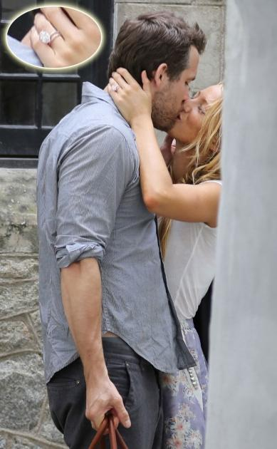Blake Lively & Ryan Reynolds share a kiss in Charleston, S.C. on September 10, 2012 -- Alex Gutierrez