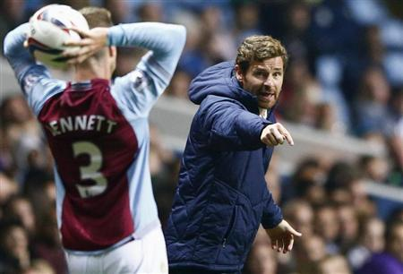Tottenham Hotspur's manager Villas Boas gestures during their English League Cup soccer match against Aston Villa in Birmingham