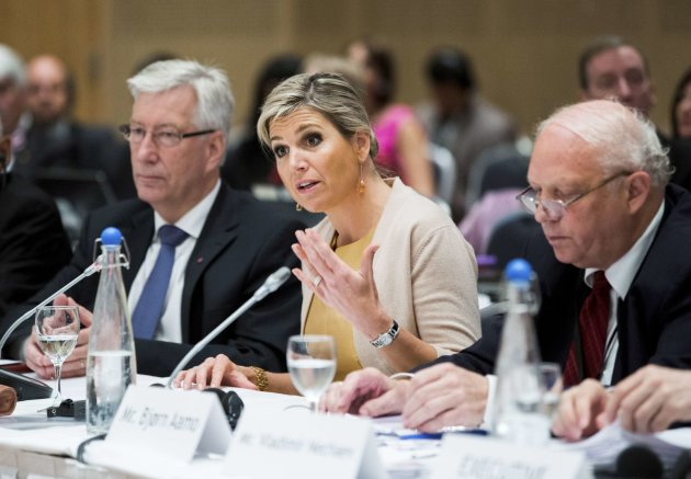 Dutch Queen Maxima attends a plenary session of the Financial Action Task Force with Norwegian Minister of Finance Johnsen and President Aamo in Oslo