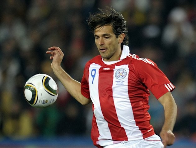 Roque Santa Cruz plays during the 2010 World Cup quarter-final match against Spain in Johannesburg on July 3, 2010