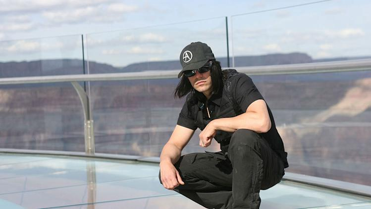 "Criss Angel at the Sky Walk at the Grand Canyon during the filming of season six of ""Criss Angel Mindfreak."""