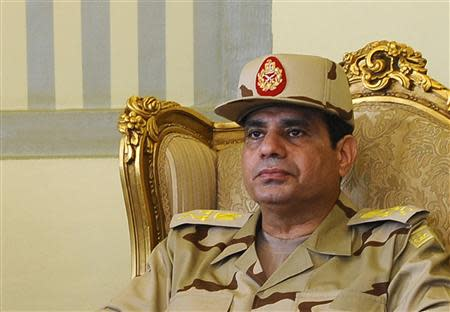 File photo shows Egypt's Defense Minister al-Sisi during news conference in Cairo on release of seven members of Egyptian security forces kidnapped by Islamist militants in Sinai