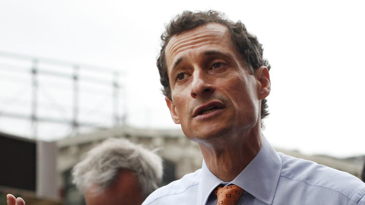 New York City mayoral hopeful Anthony Weiner speaks to reporters during a campaign event, Thursday, May 23, 2013 in New York. Weiner, who ran for mayor in 2005 and nearly did in 2009, is getting into the race to succeed three-term Mayor Michael Bloomberg about two years after a series of tawdry tweets, and obfuscating explanations that capsized his promising congressional career. (AP Photo/Jason DeCrow)
