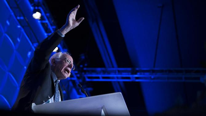 Democratic presidential candidate Sen. Bernie Sanders, I-Vt., speaks during the Humphrey-Mondale dinner at the St. Paul River Centre, on Friday, Feb. 12, 2016, in St. Paul, Minn. (AP Photo/Evan Vucci)