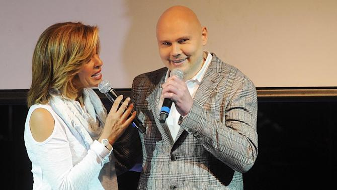 Musician Billy Corgan, right, and Hoda Kotb perform at National Concert Day at Irving Plaza on Tuesday, May 5, 2015, in New York. (Photo by Brad Barket/Invision/AP)