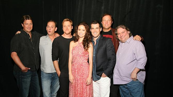 """This July 2012 publicity photo provided by the Science Channel shows the cast of """"Firefly,"""" from left, Nathan Fillion, executive producer Tim Minear, Alan Tudyk, Summer Glau, Sean Maher, Adam Baldwin and executive story editor Jose Molina, reuniting for the 10 year anniversary of the series in the Science Channel Special, """"Firefly: Browncoats Unite,"""" airing on Sunday, Nov. 11, 2012 at 10PM ET/PT. (AP Photo/Science Channel, James Aronovsky)"""