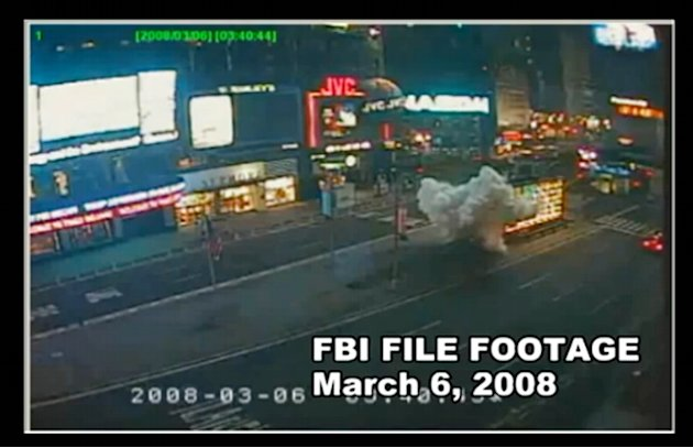 In this March 8, 2008 image taken from video and provided by the Federal Bureau of Investigation, a bomb explodes outside the United States Armed Forces Recruiting Station in New York City's Times Squ
