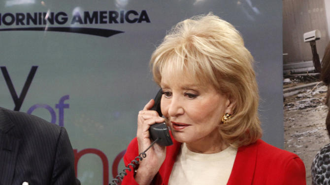 "This image released by American Broadcasting Companies shows Barbara Walters answering a phone to take donations for victims of Superstorm Sandy during ""Good Morning America,"" Monday, Nov. 5, 2012 in New York.  Walters made a contribution of $250,000 to the American Red Cross and GMA co-host George Stephanopoulos followed suit with a donation for $50,000.  (AP Photo/American Broadcasting Companies, Lou Rocco)"