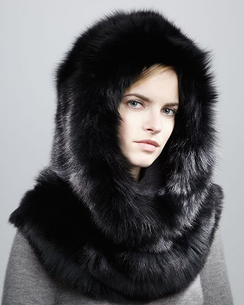 Hooded fox trim cape, $2500, neimanmarcus.com
