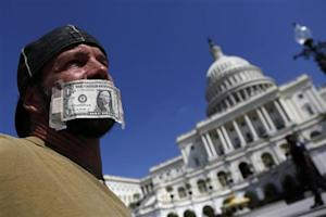 A federal employee protests against the current government shutdown at the U.S. Capitol in Washington